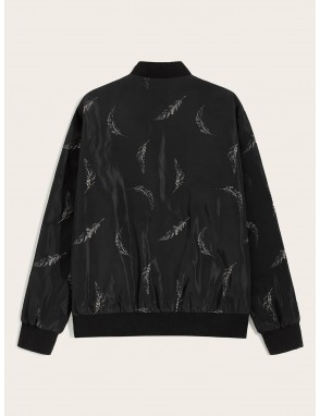 Men Feather Print Zip Up Bomber Jacket