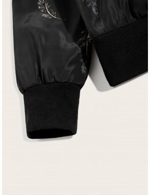 Men Feather Print Zip Up Bomber Jacket