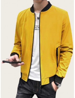 Men Contrast Binding Zip Up Bomber Jacket