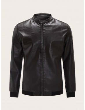 Men Funnel Neck PU Biker Jacket