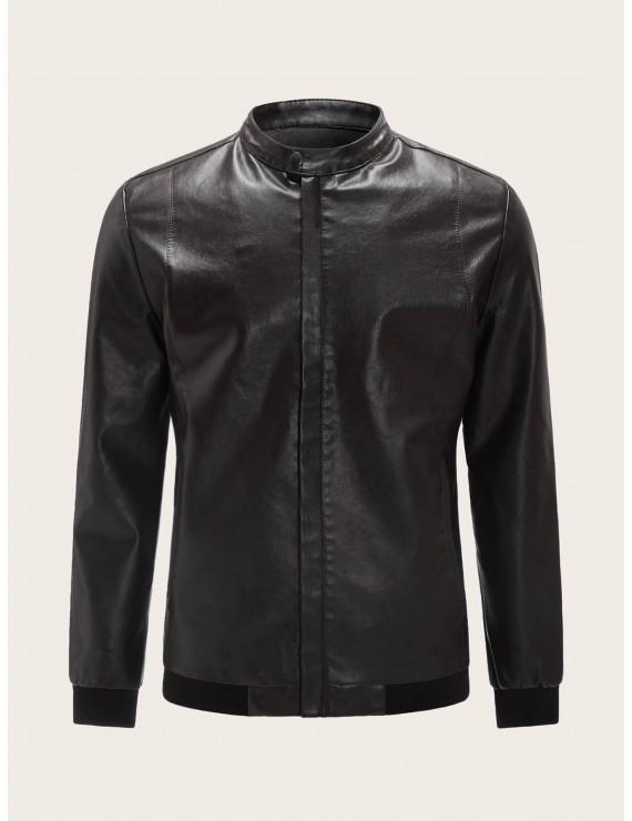 Men Funnel Neck PU Biker Jacket
