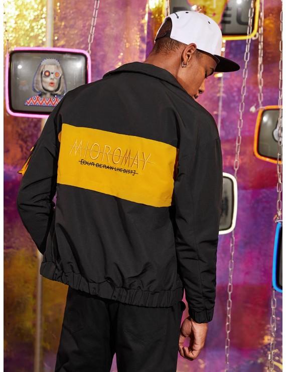 Men Contrast Panel Embroidery Flap Pockets Cargo Jacket