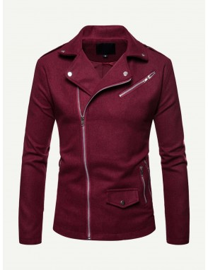 Men Collar Zipper Decorated Jacket