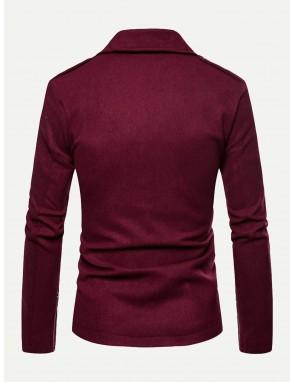Men Collar Zipper Decorated Jacket