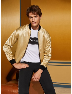 Men Contrast Trim Satin Bomber Jacket