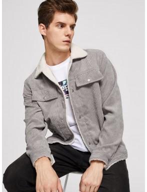 Men Button Up Corduroy Jacket