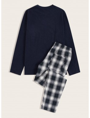 Men Button Detail Top & Plaid Pants PJ Set