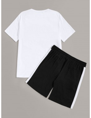 Men Cup & Letter Graphic Tee and Contrast Sideseam Shorts PJ Set