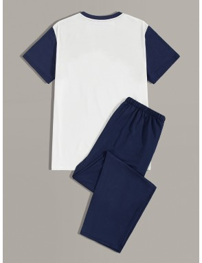 Men Color-block Tee & Pants PJ Sets