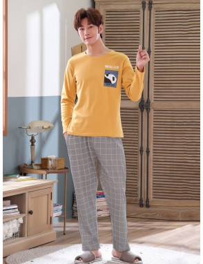 Men Cartoon And Plaid Print Pajama Set