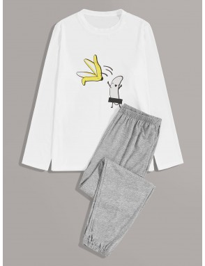 Men Cartoon Graphic Top With Pants PJ Set