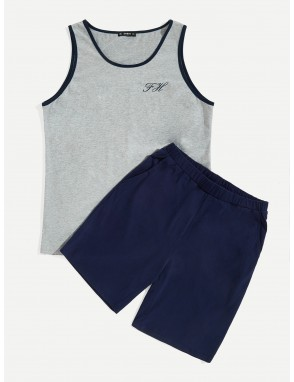 Men Contrast Binding Letter Graphic Tank Top & Shorts PJ Set