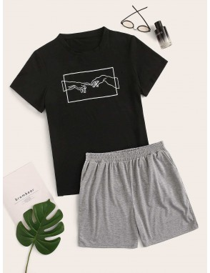 Men Gesture Print Tee & Shorts PJ Sets