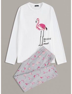 Men Flamingo and Slogan Graphic Tee and Pants PJ Set