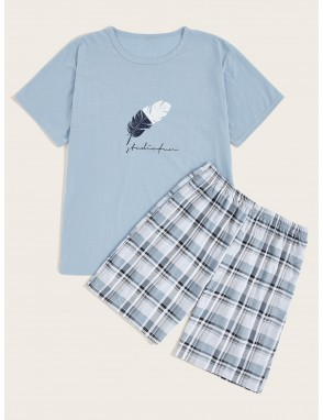 Men Feather Print Plaid Pajama Set