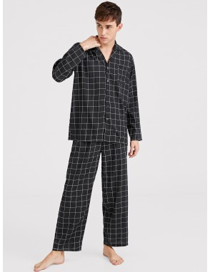 Men Plaid Button-up Pajama Set
