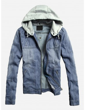 Men Hooded Denim Jacket