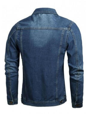 Men Flap Pocket Metal Button Denim Jacket