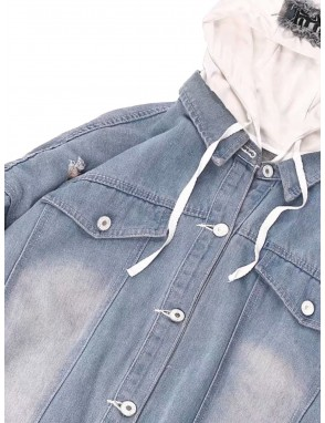 Men 2 In 1 Ripped & Patch Detail Hooded Denim Jacket