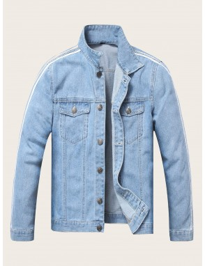 Men Contrast Stripe Taped Denim Jacket