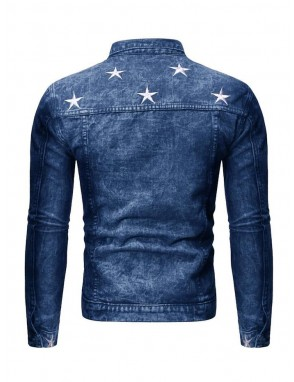 Men Fade Washed Star Embroidery Denim Jacket