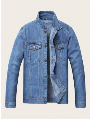 Men Button Through Pocket Denim Jacket