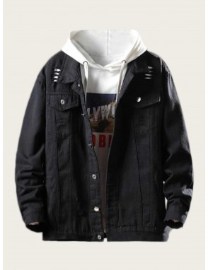 Men Flap Pockets Ripped Denim Jacket
