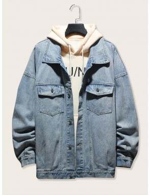 Men Drop Shoulder Single Breasted Denim Jacket