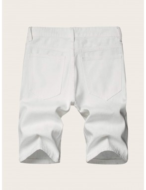 Men Ripped Solid Bermuda Denim Shorts