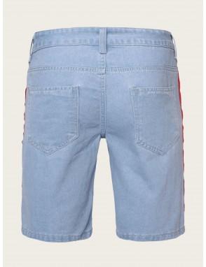 Men Patched Destroyed Denim Shorts