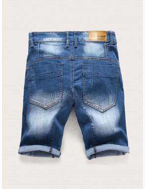 Men Ripped Fade Denim Shorts
