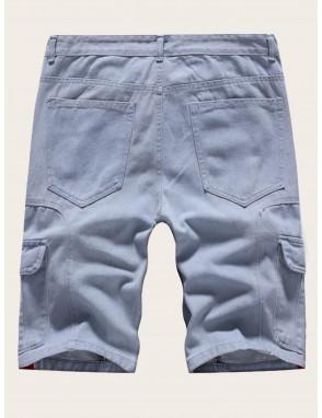 Men Pocket Side Patched Denim Shorts