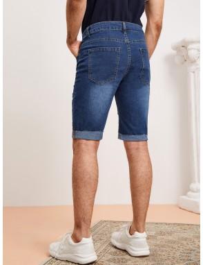 Men Roll Up Hem Ripped Bermuda Denim Shorts