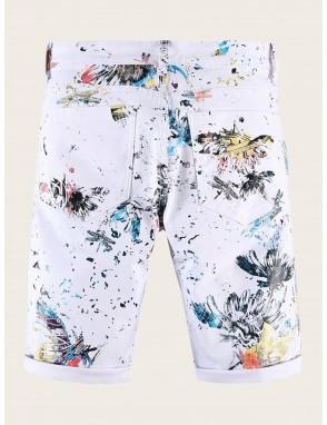 Men Random Abstract Print Denim Shorts