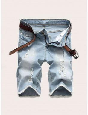 Men Ripped Raw Hem Washed Denim Shorts