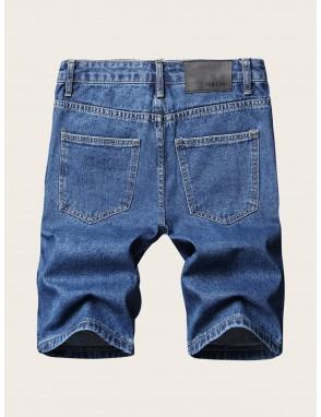Men Patched Bermuda Denim Shorts