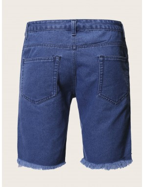 Men Ripped Side Tape Denim Shorts