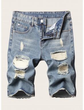 Men Ladder Distressed Raw Hem Denim Shorts