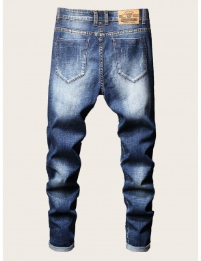 Men Button Fly Ripped Skinny Jeans