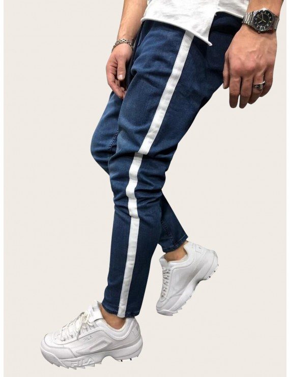 Men Contrast Side Tape Drawstring Waist Jeans