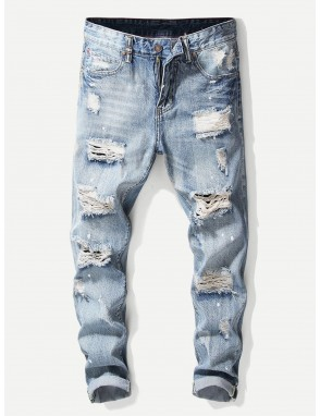 Men Destroyed Plain Jeans