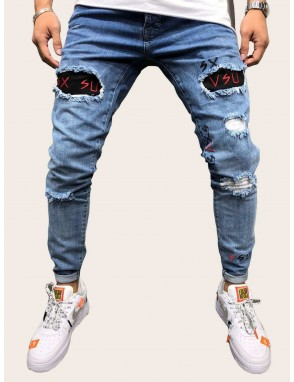 Men Letter Embroidery Ripped Jeans