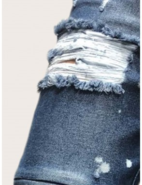 Men Ink Point Print Ripped Jeans