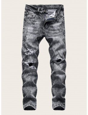 Men Button Fly Ripped Flakes Jeans