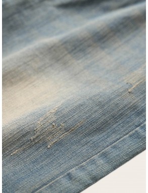 Men Button Fly Washed Jeans