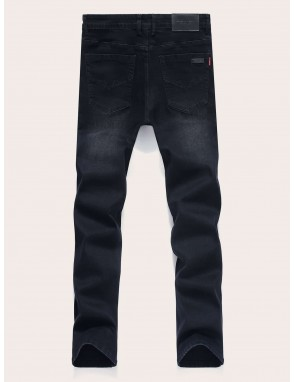 Men Button Fly Solid Jeans