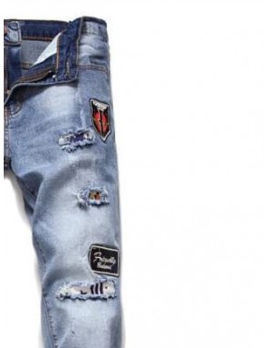Men Letter Patched Ripped Jeans