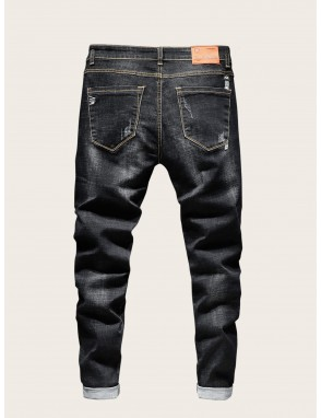 Men Letter Patched Ripped Button Fly Jeans