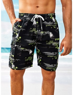 Men Coconut Trees Print Bermuda Shorts