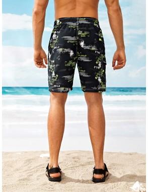 Men Coconut Trees Print Bermuda Shorts